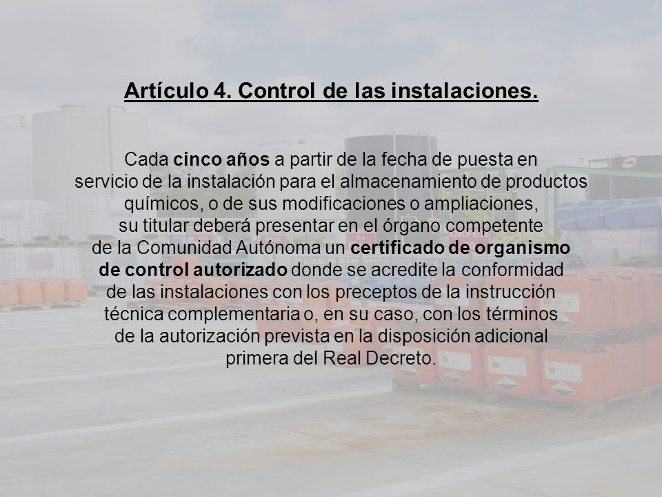 Artículo 4. Control de las instalaciones