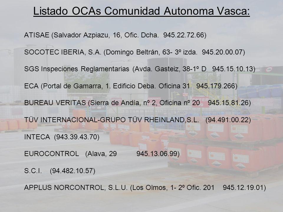 Listado OCAs Comunidad Autonoma Vasca: ATISAE (Salvador Azpiazu, 16, Ofic.