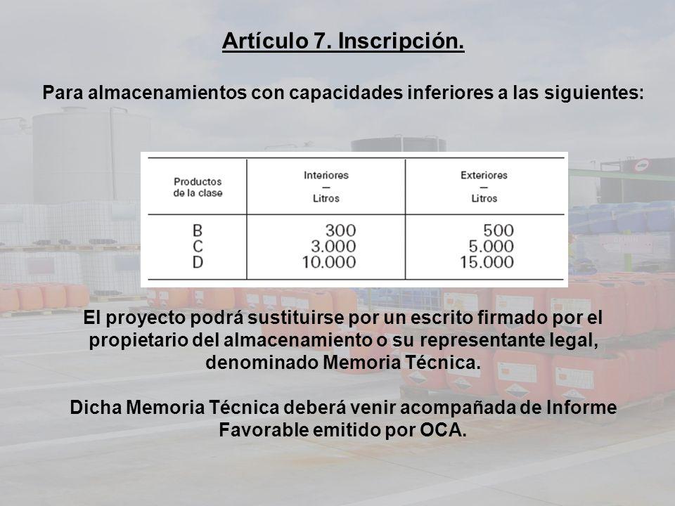Artículo 7. Inscripción.