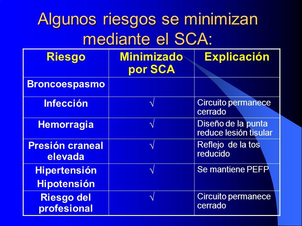Algunos riesgos se minimizan mediante el SCA: