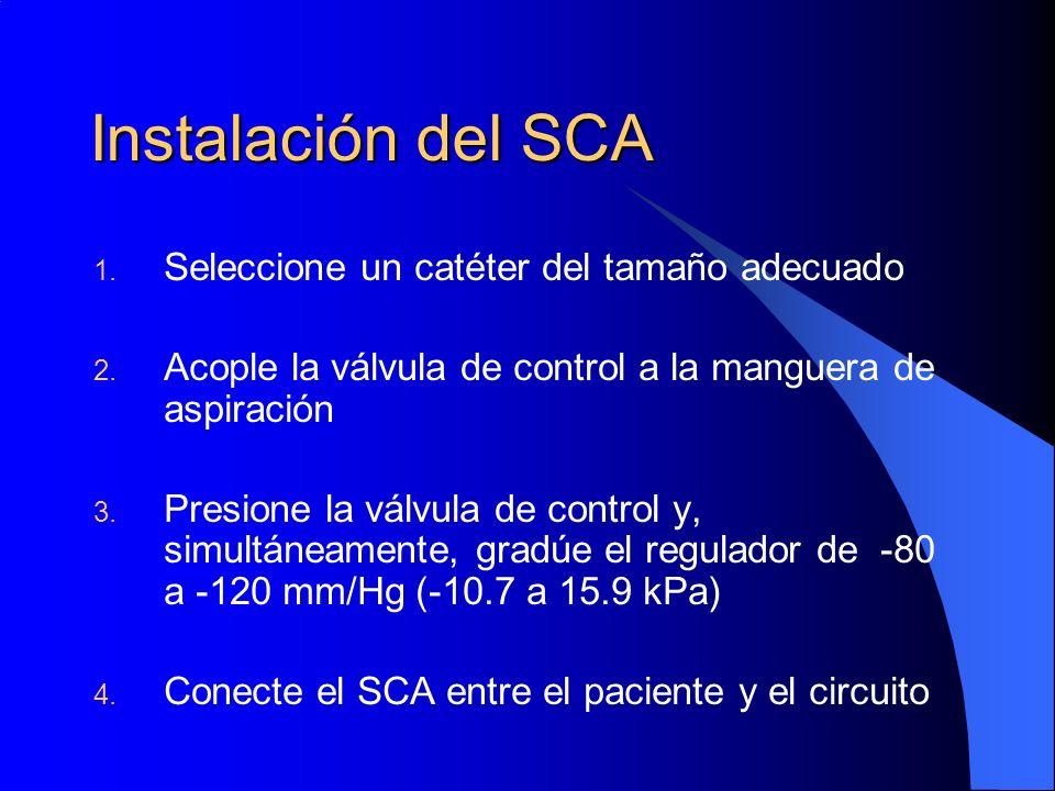 Instalación del SCA Seleccione un catéter del tamaño adecuado