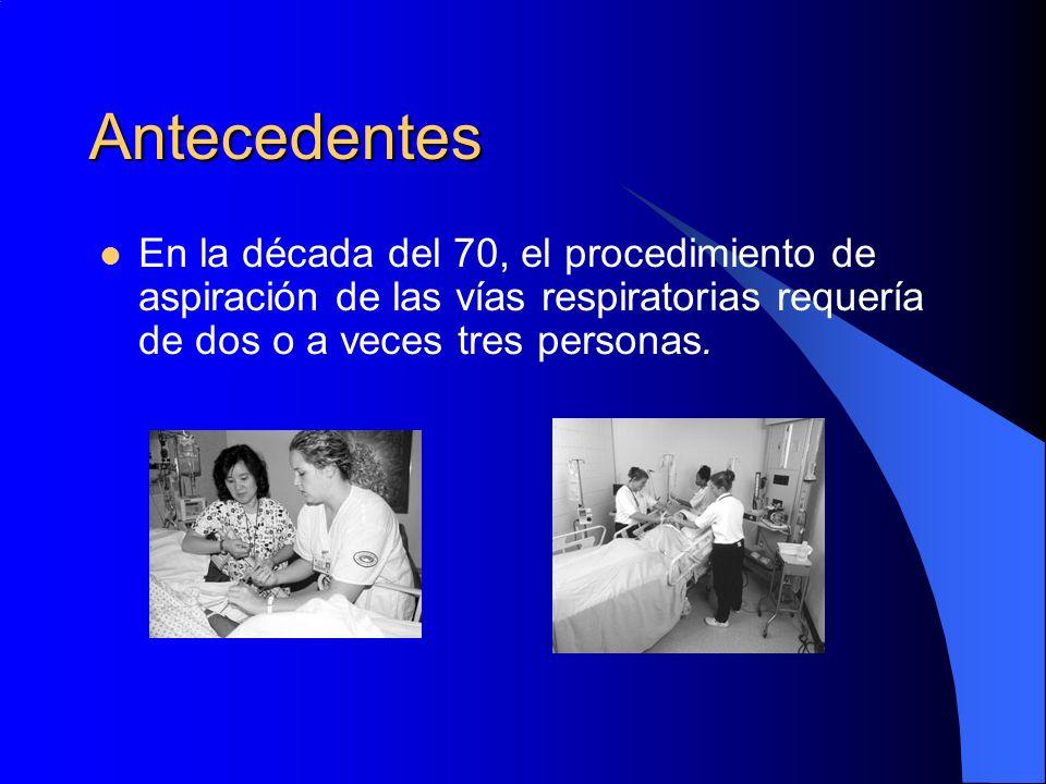Antecedentes En la década del 70, el procedimiento de aspiración de las vías respiratorias requería de dos o a veces tres personas.