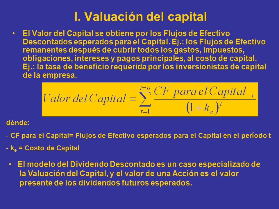 I. Valuación del capital