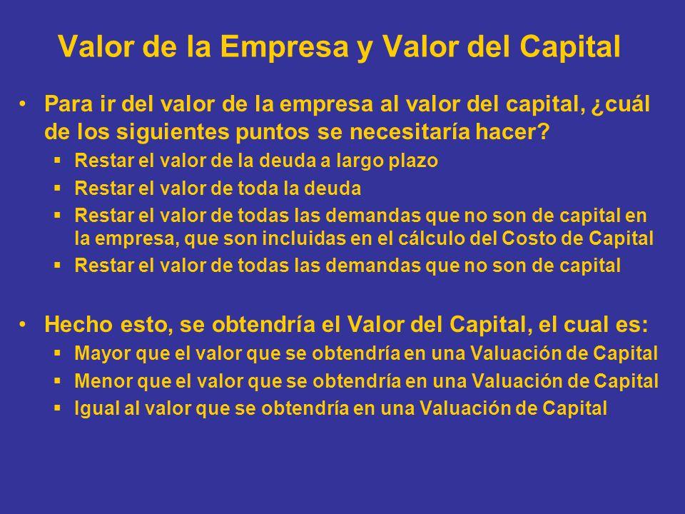 Valor de la Empresa y Valor del Capital