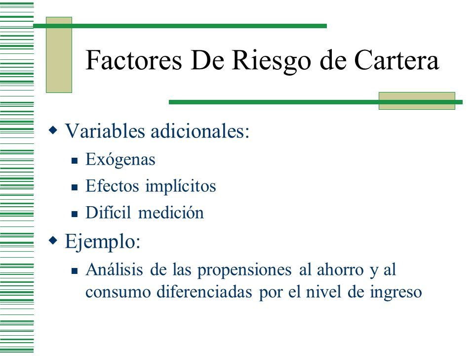 Factores De Riesgo de Cartera