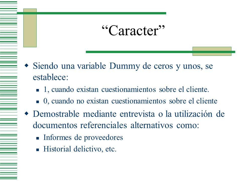 Caracter Siendo una variable Dummy de ceros y unos, se establece: