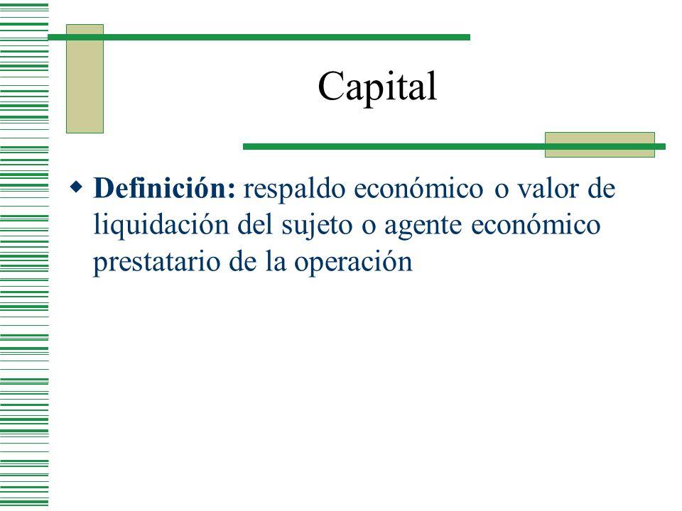CapitalDefinición: respaldo económico o valor de liquidación del sujeto o agente económico prestatario de la operación.