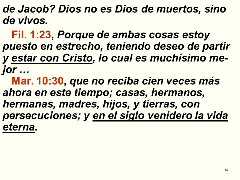 de Jacob Dios no es Dios de muertos, sino de vivos.
