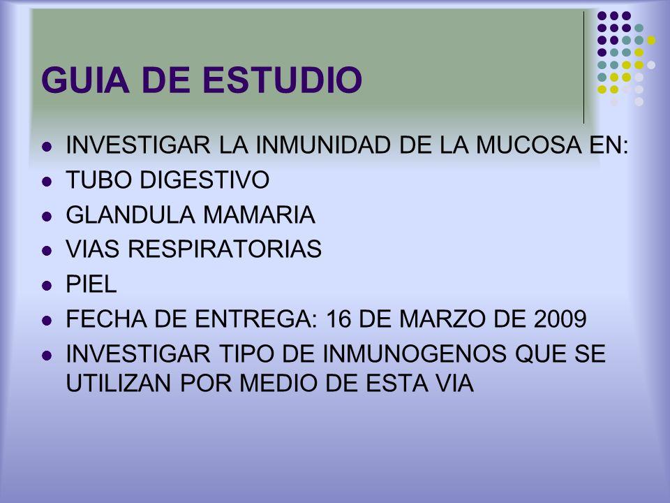 GUIA DE ESTUDIO INVESTIGAR LA INMUNIDAD DE LA MUCOSA EN: