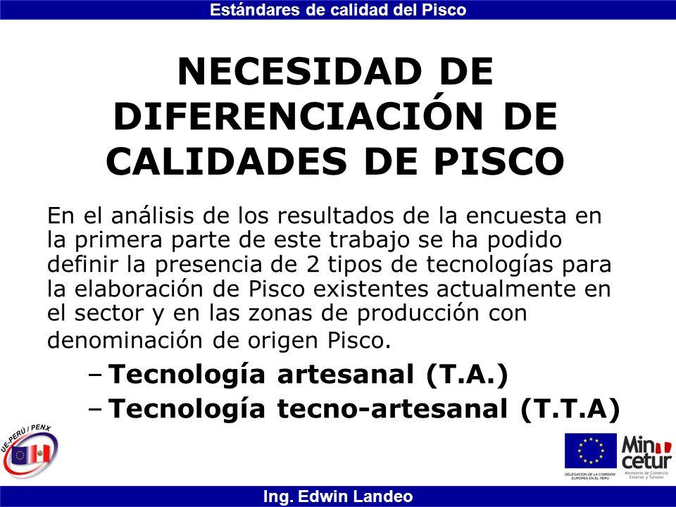 NECESIDAD DE DIFERENCIACIÓN DE CALIDADES DE PISCO