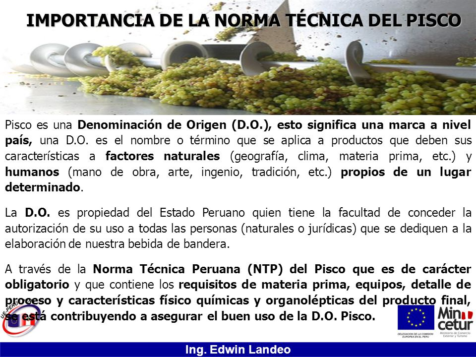 IMPORTANCIA DE LA NORMA TÉCNICA DEL PISCO