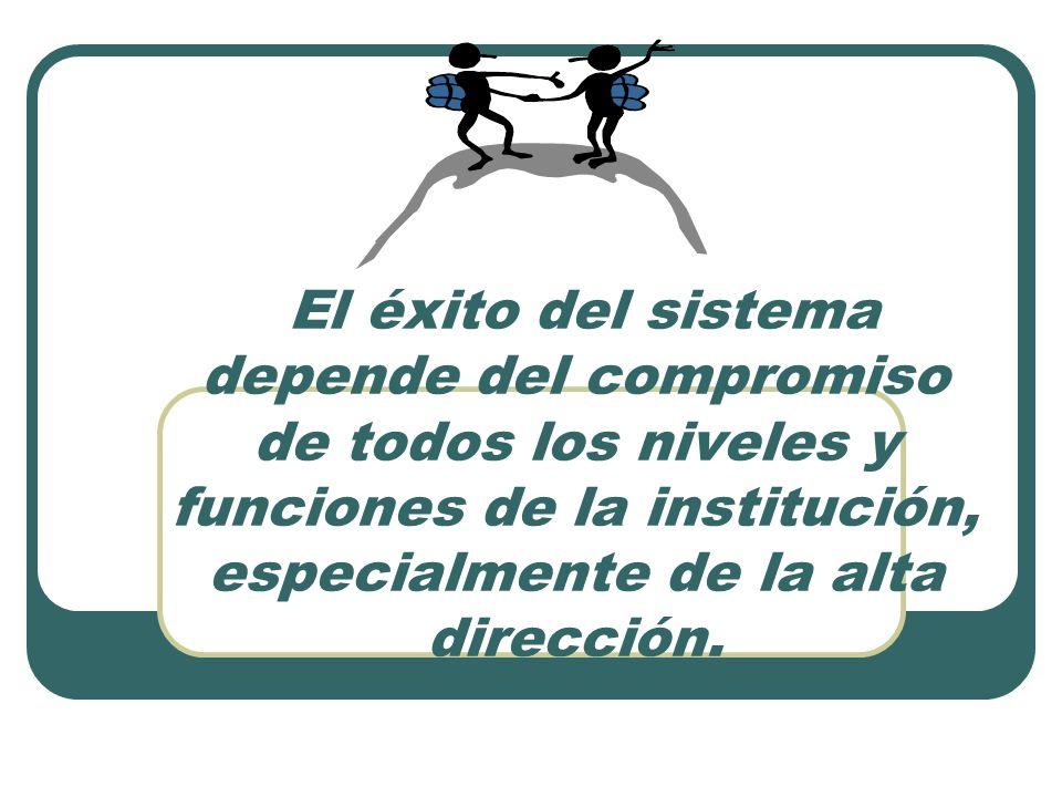 El éxito del sistema depende del compromiso de todos los niveles y funciones de la institución, especialmente de la alta dirección.