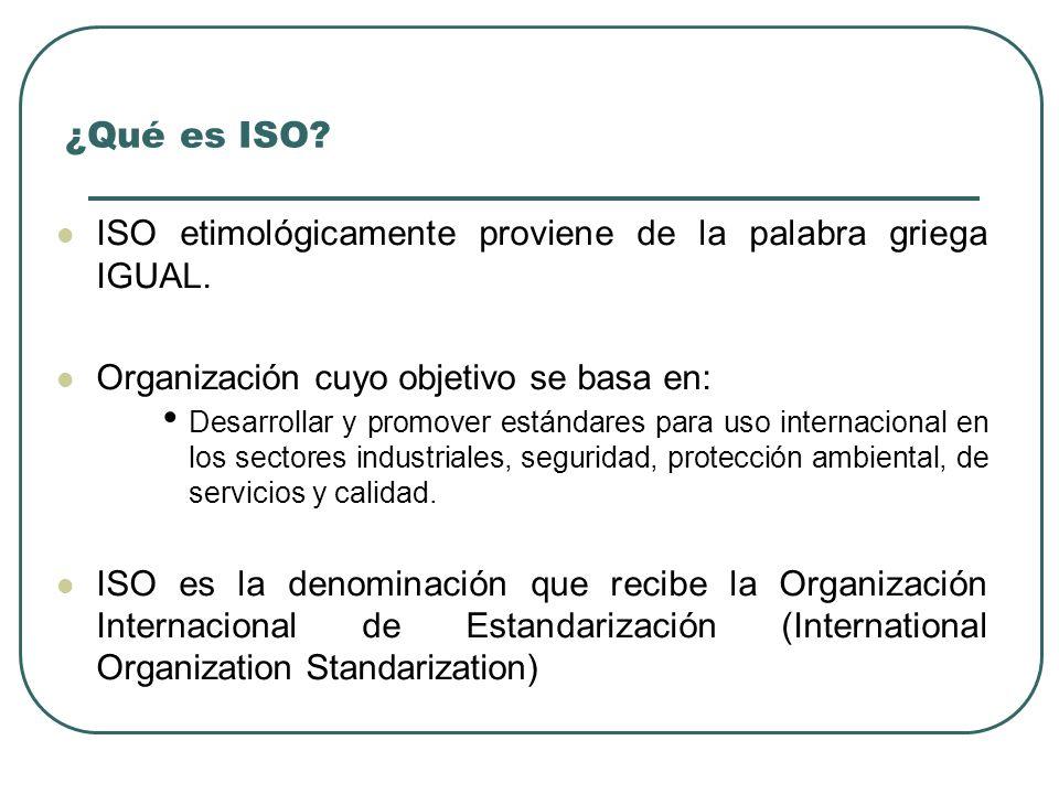¿Qué es ISO ISO etimológicamente proviene de la palabra griega IGUAL.