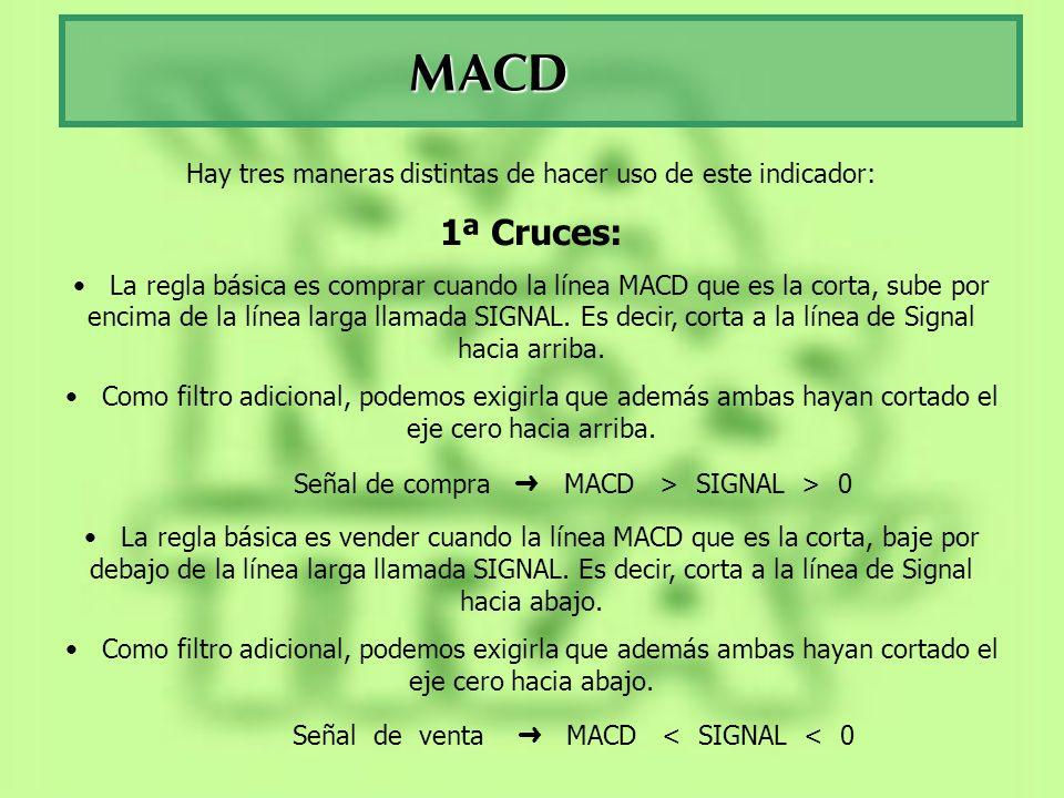 MACD Hay tres maneras distintas de hacer uso de este indicador: 1ª Cruces: