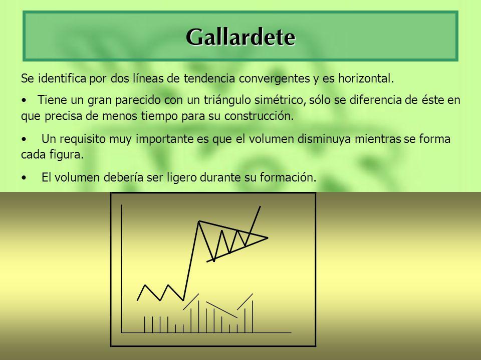 Gallardete Se identifica por dos líneas de tendencia convergentes y es horizontal.