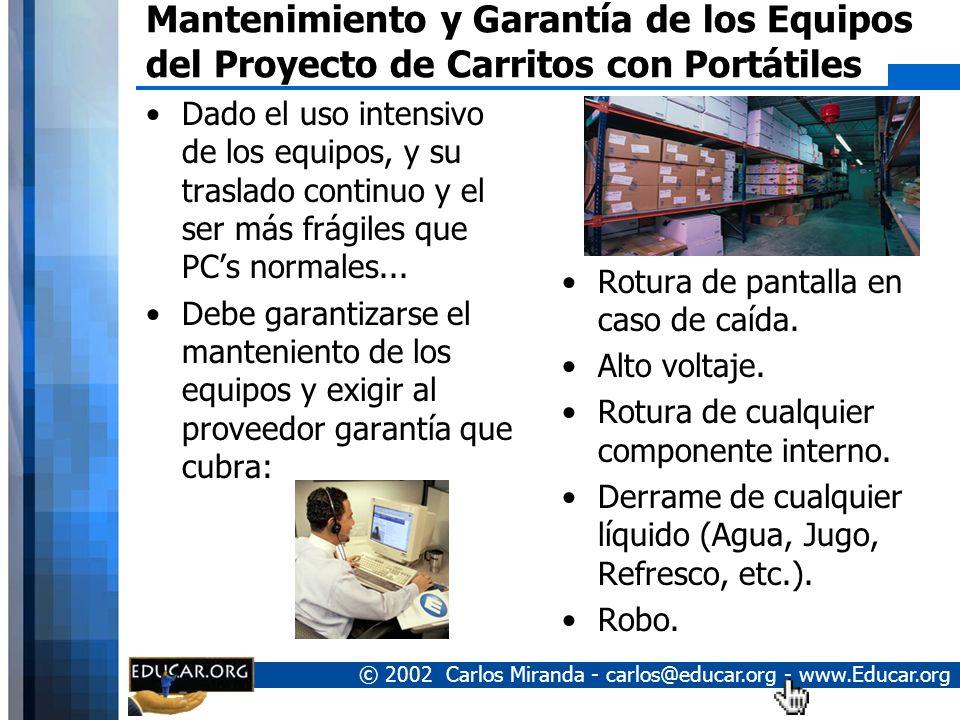 Mantenimiento y Garantía de los Equipos del Proyecto de Carritos con Portátiles