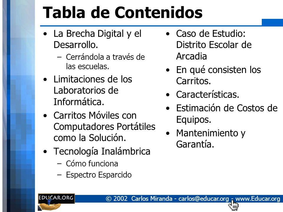 Tabla de Contenidos La Brecha Digital y el Desarrollo.