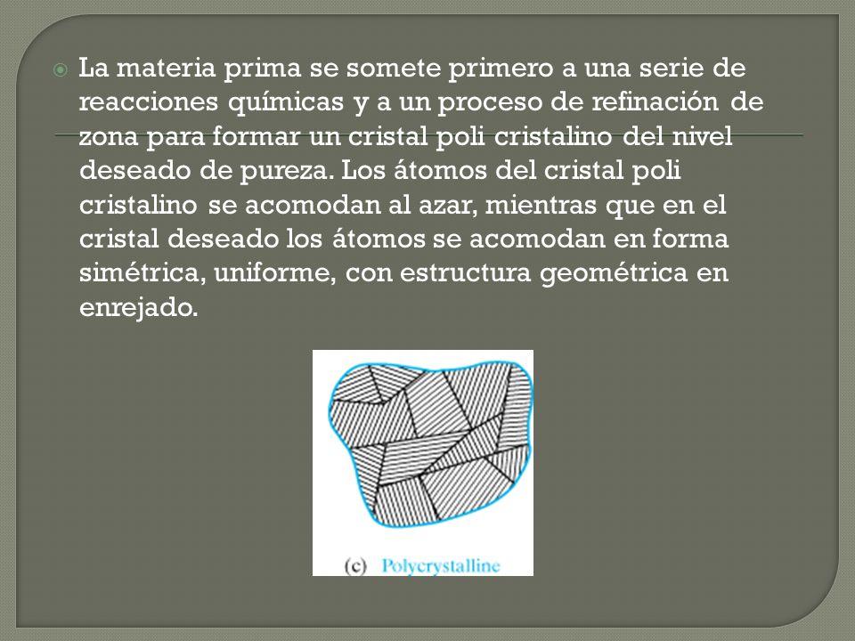 La materia prima se somete primero a una serie de reacciones químicas y a un proceso de refinación de zona para formar un cristal poli cristalino del nivel deseado de pureza.