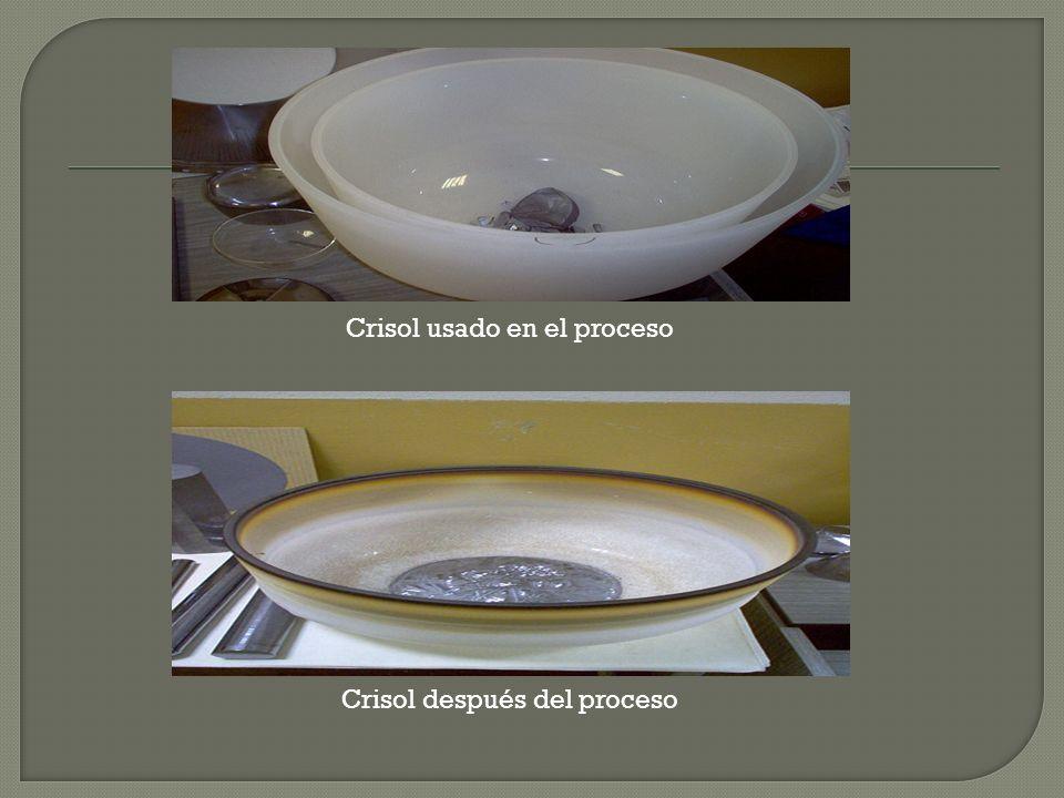 Crisol usado en el proceso