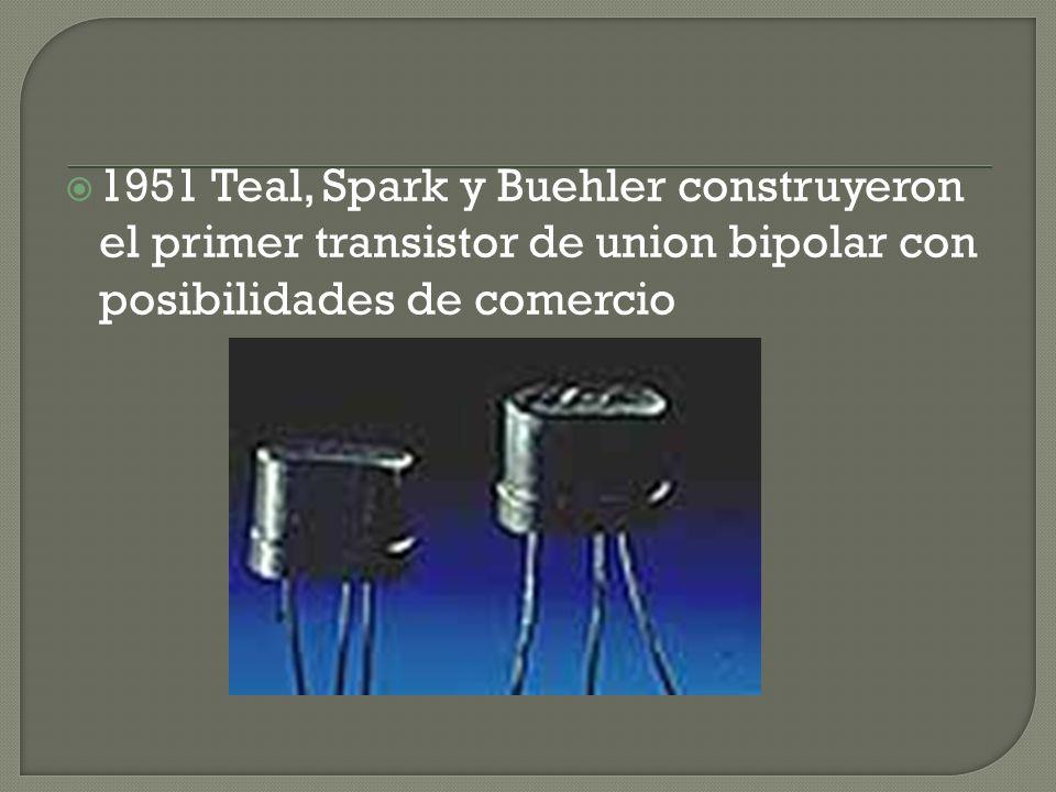 1951 Teal, Spark y Buehler construyeron el primer transistor de union bipolar con posibilidades de comercio