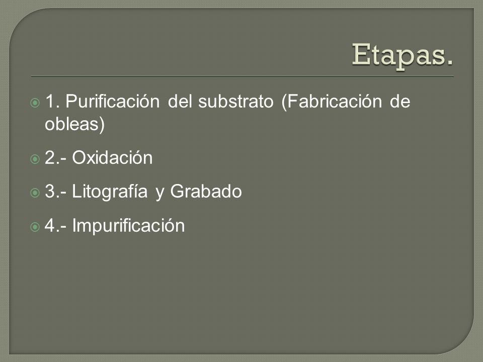 Etapas. 1. Purificación del substrato (Fabricación de obleas)