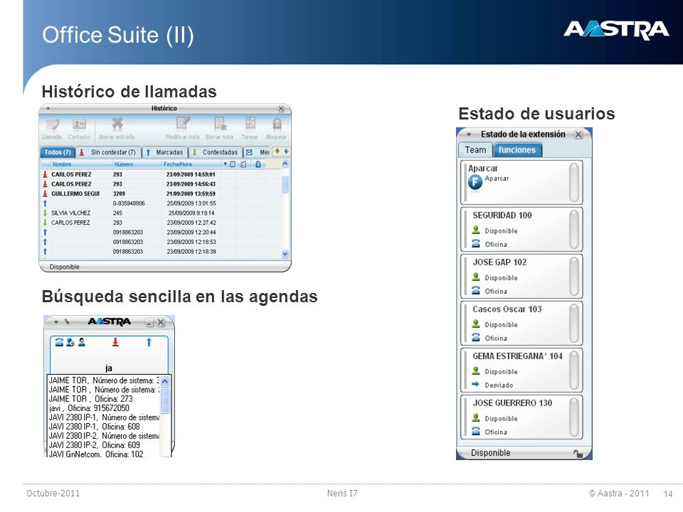 Office Suite (II) Histórico de llamadas Estado de usuarios