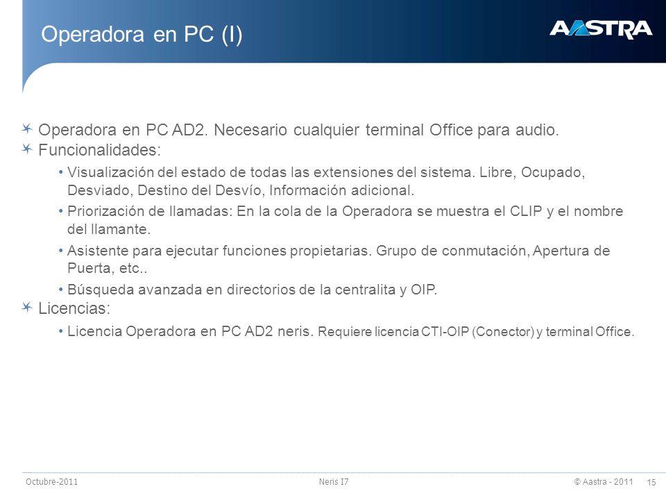 23/03/2017 Operadora en PC (I) Operadora en PC AD2. Necesario cualquier terminal Office para audio.