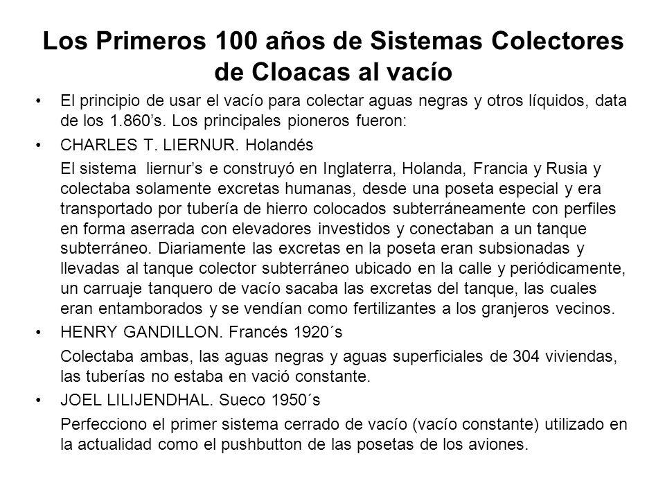 Los Primeros 100 años de Sistemas Colectores de Cloacas al vacío