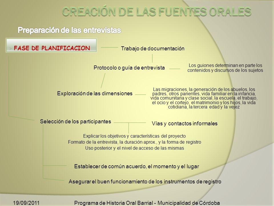 Creación de las fuentes orales
