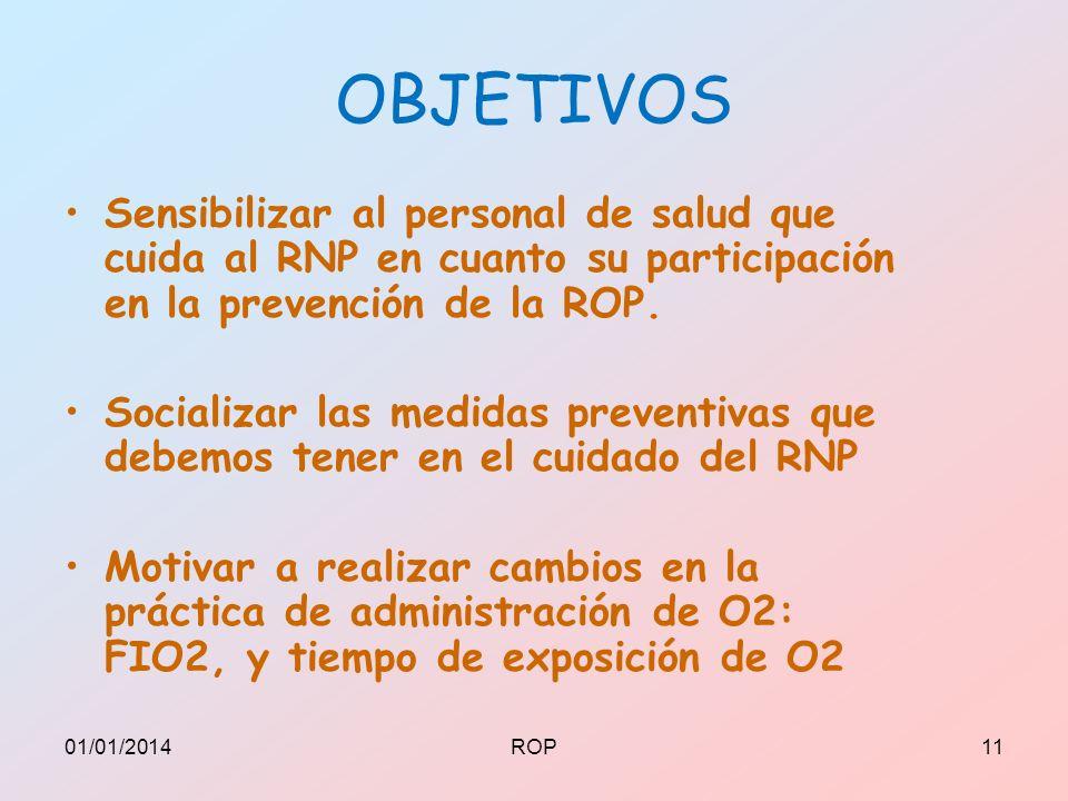 OBJETIVOS Sensibilizar al personal de salud que cuida al RNP en cuanto su participación en la prevención de la ROP.