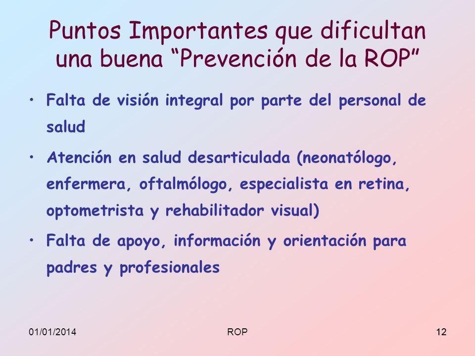 Puntos Importantes que dificultan una buena Prevención de la ROP