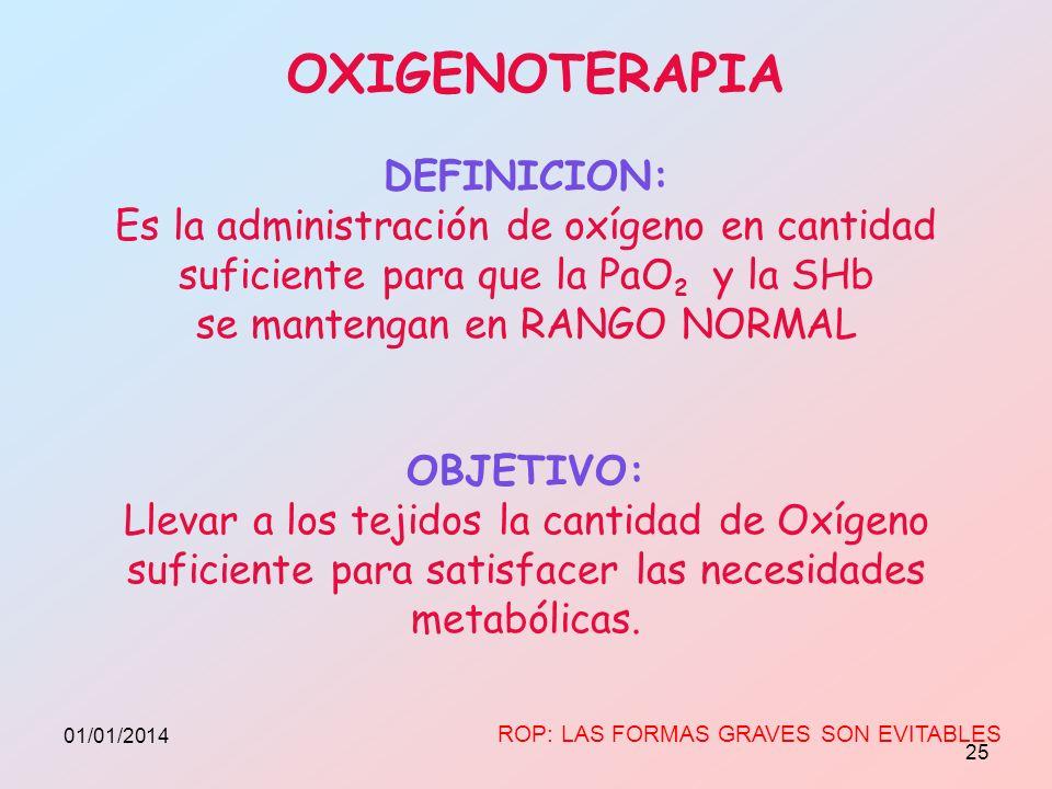 OXIGENOTERAPIA DEFINICION: Es la administración de oxígeno en cantidad