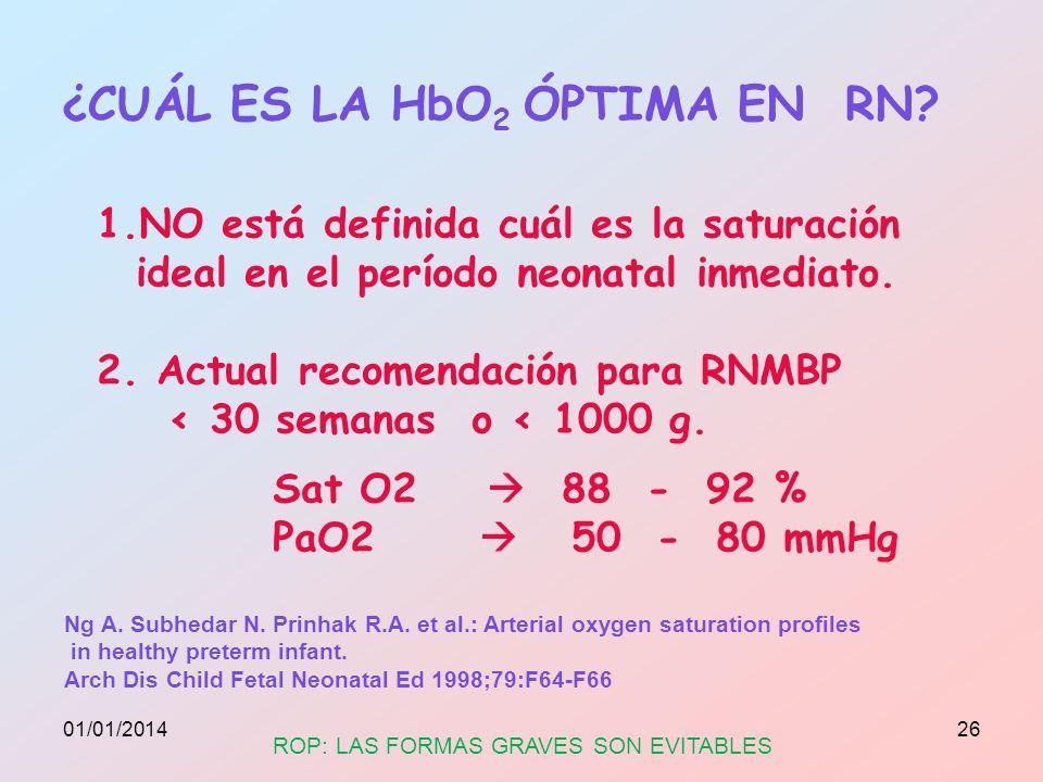 ¿CUÁL ES LA HbO2 ÓPTIMA EN RN