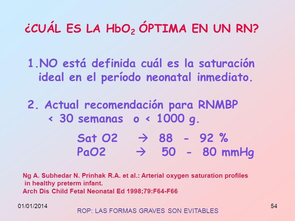 ¿CUÁL ES LA HbO2 ÓPTIMA EN UN RN
