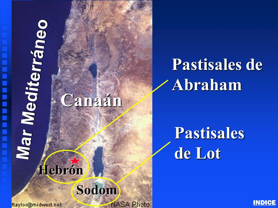 Canaán Mar Mediterráneo Pastisales de Abraham Pastisales de Lot Hebrón
