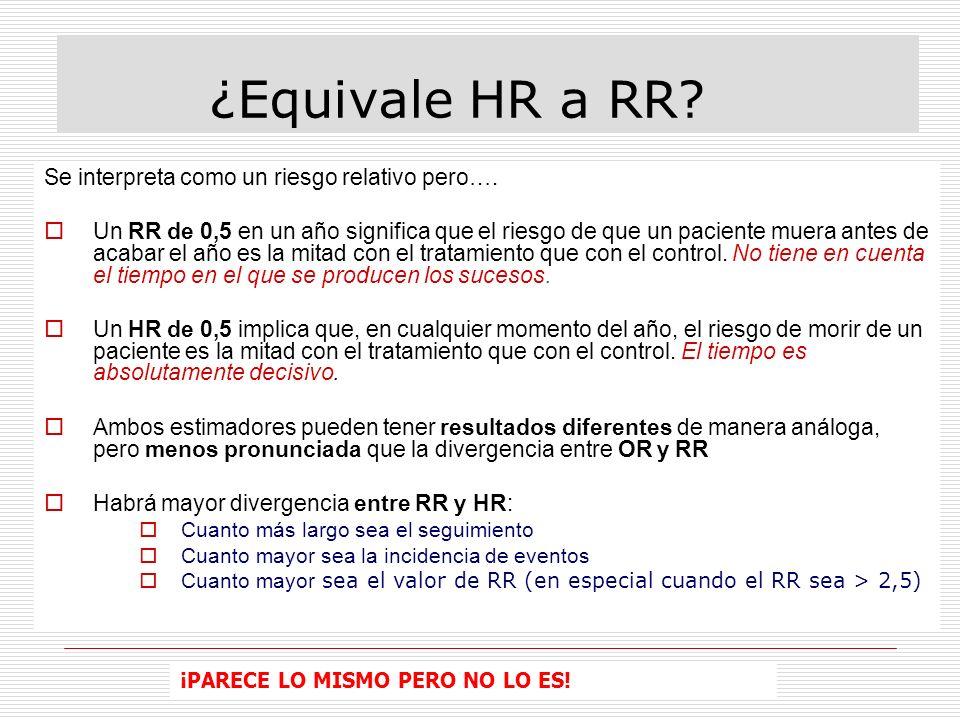 ¿Equivale HR a RR Se interpreta como un riesgo relativo pero….