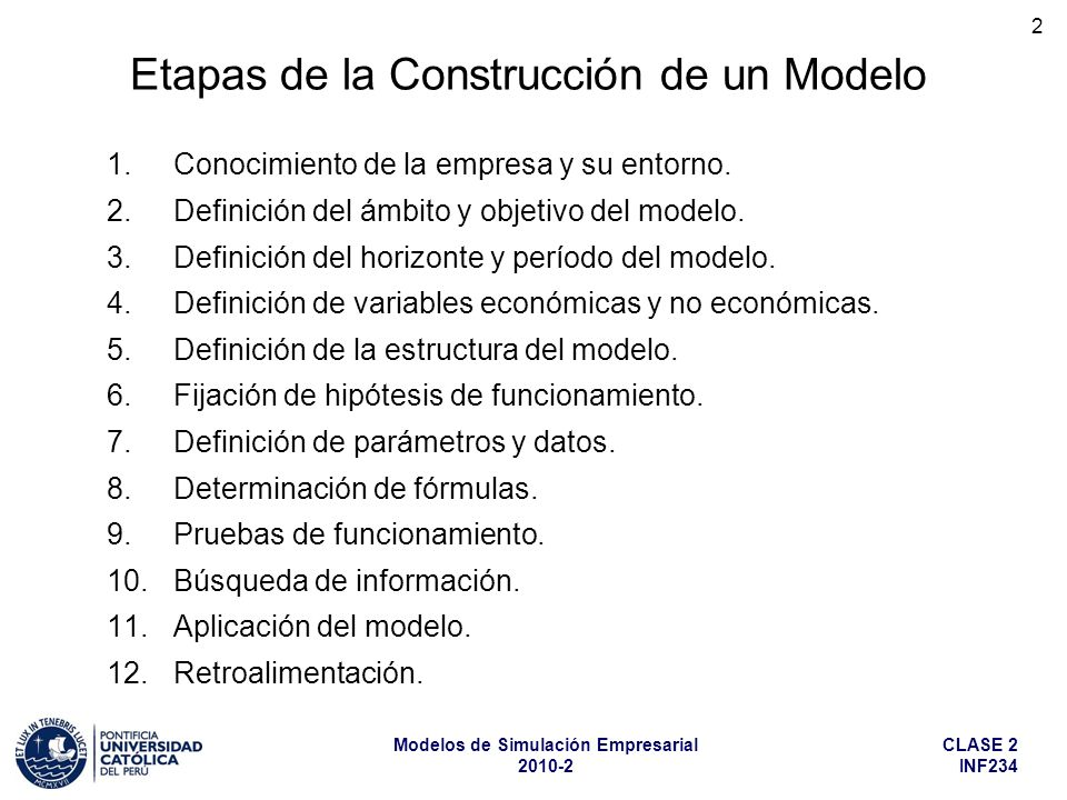 Etapas de la Construcción de un Modelo