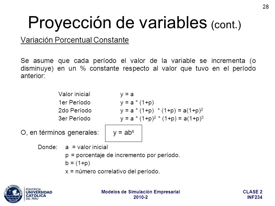 Proyección de variables (cont.)