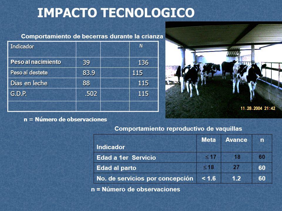 IMPACTO TECNOLOGICO Comportamiento de becerras durante la crianza 39