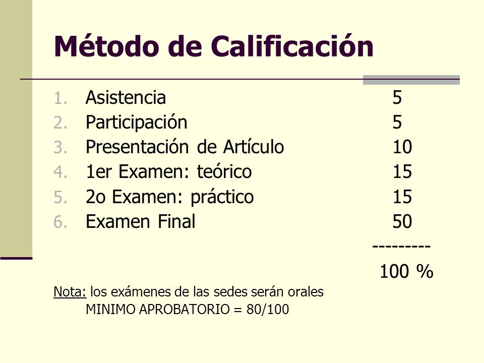 Método de Calificación