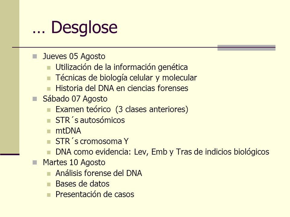 … Desglose Jueves 05 Agosto Utilización de la información genética