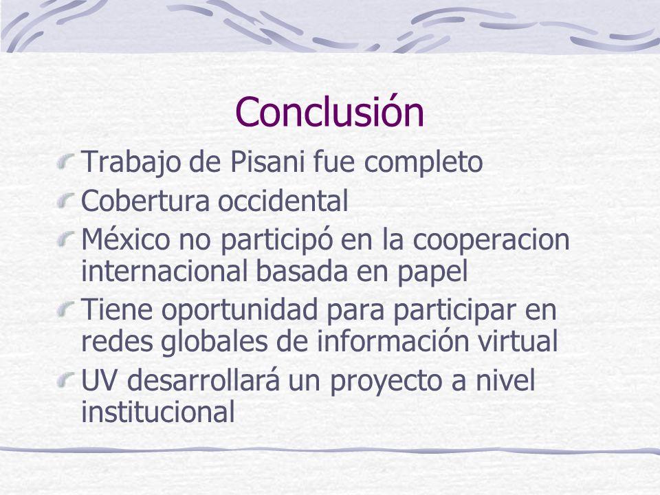Conclusión Trabajo de Pisani fue completo Cobertura occidental