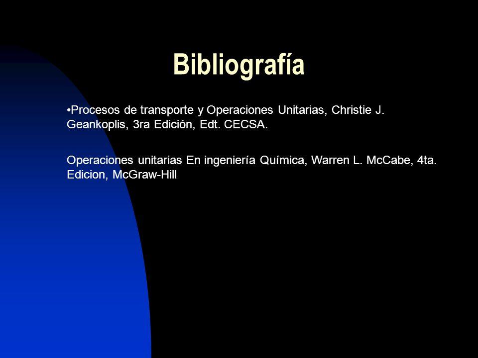 Bibliografía Procesos de transporte y Operaciones Unitarias, Christie J. Geankoplis, 3ra Edición, Edt. CECSA.