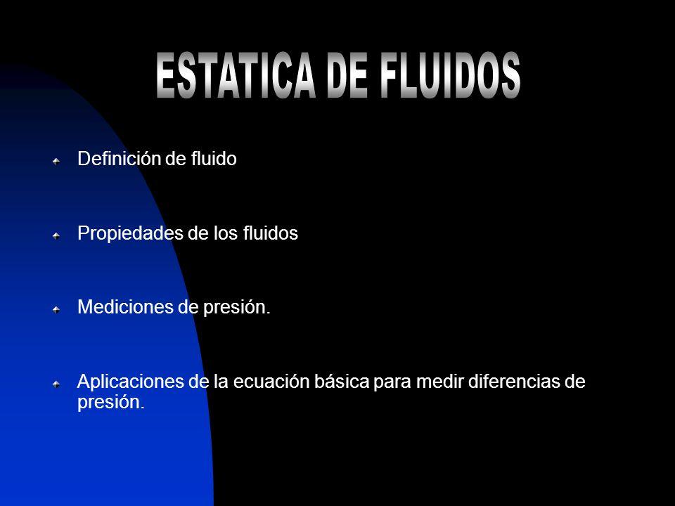 ESTATICA DE FLUIDOS Definición de fluido Propiedades de los fluidos