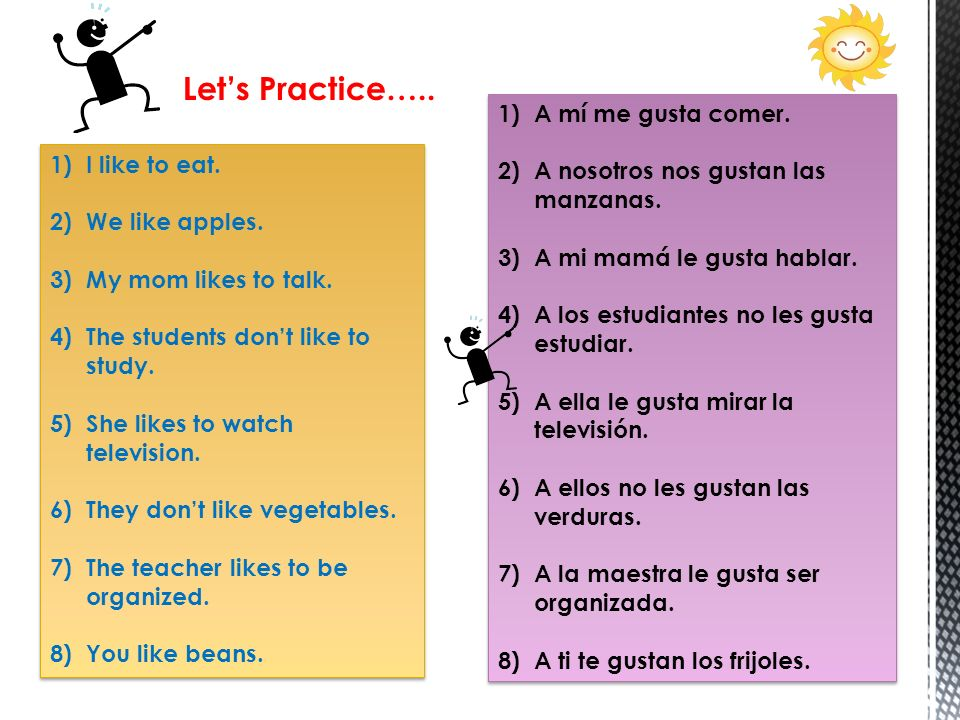 Let's Practice….. A mí me gusta comer.
