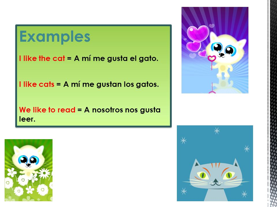 Examples I like the cat = A mí me gusta el gato.