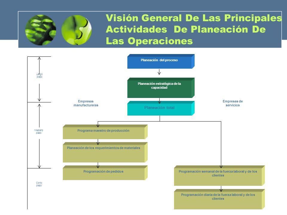 Visión General De Las Principales Actividades De Planeación De Las Operaciones