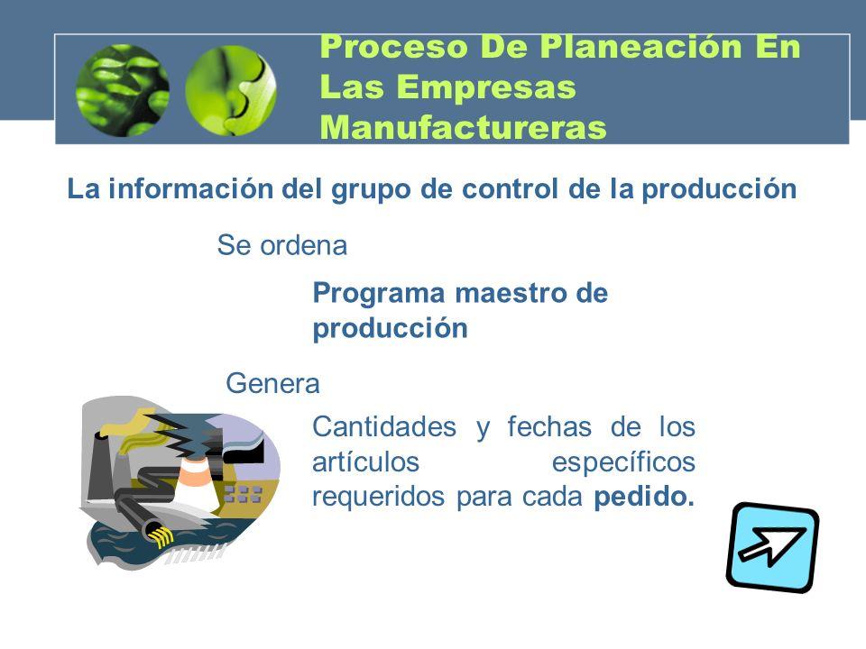 Proceso De Planeación En Las Empresas Manufactureras