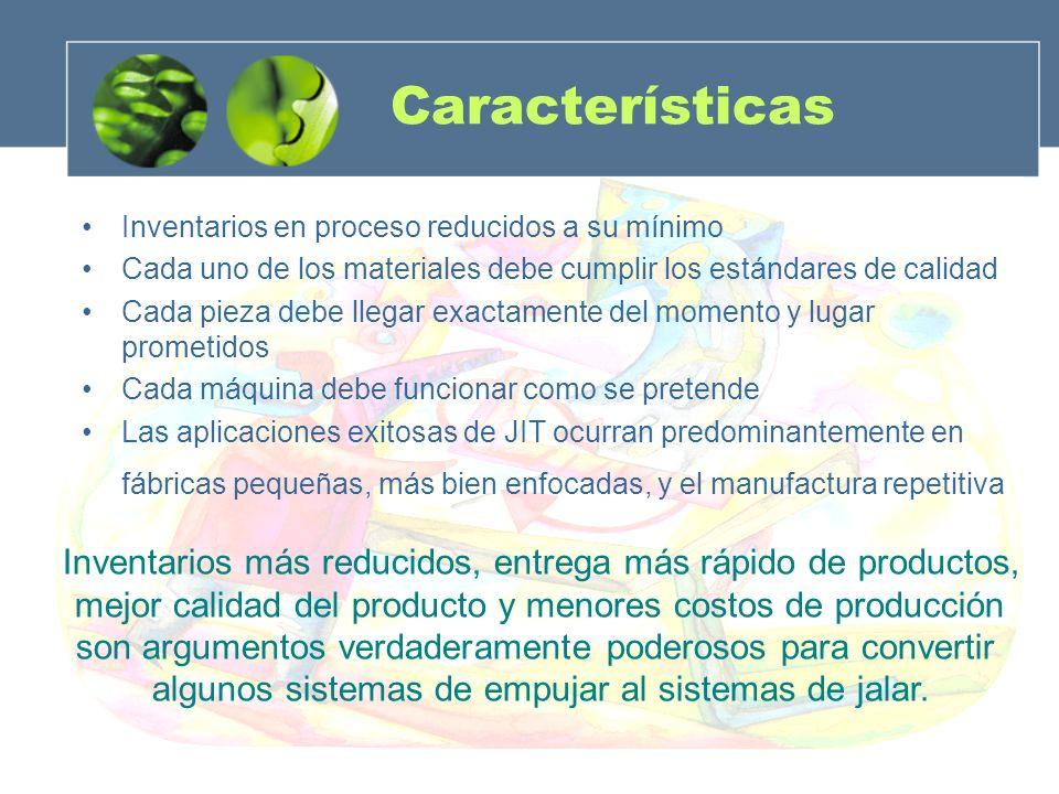 Características Inventarios en proceso reducidos a su mínimo. Cada uno de los materiales debe cumplir los estándares de calidad.