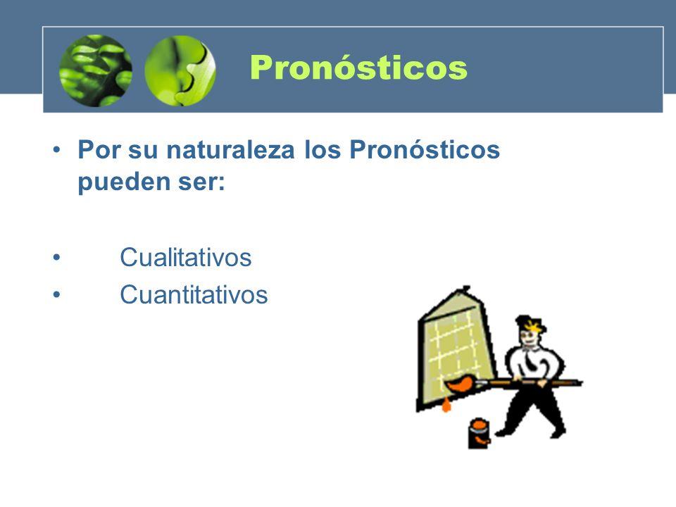 Pronósticos Por su naturaleza los Pronósticos pueden ser: Cualitativos